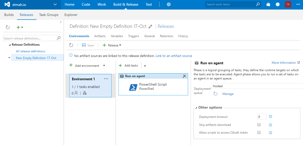 VSTS release definition